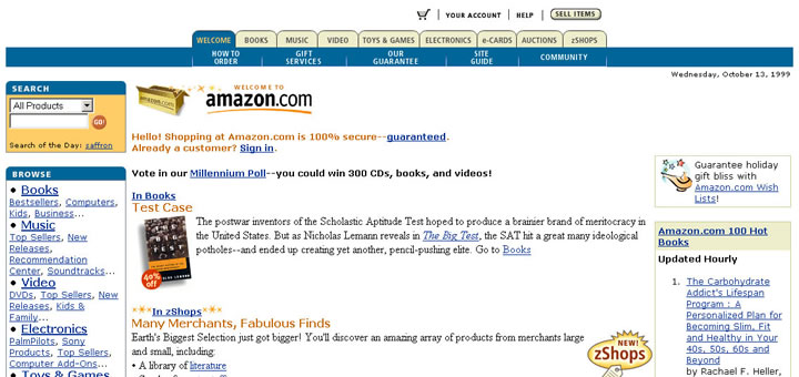 Amazon website 1999