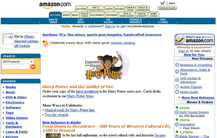 Amazon website in 2000