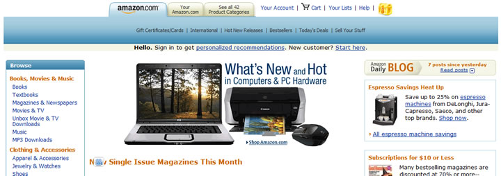 Amazon website in 2007