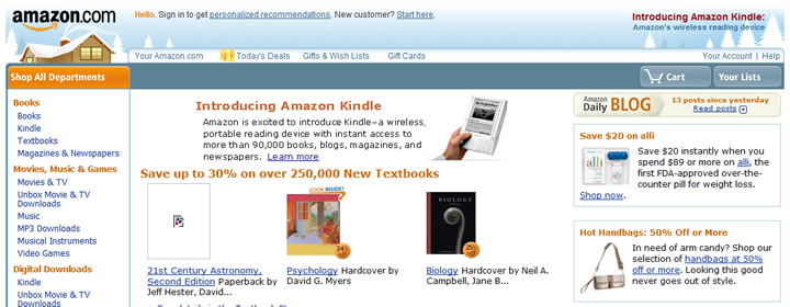 Amazon website in 2008
