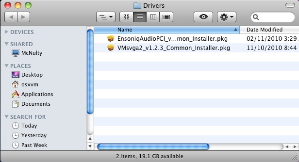osx drivers vmsvga2 and ensoniqaudiopci