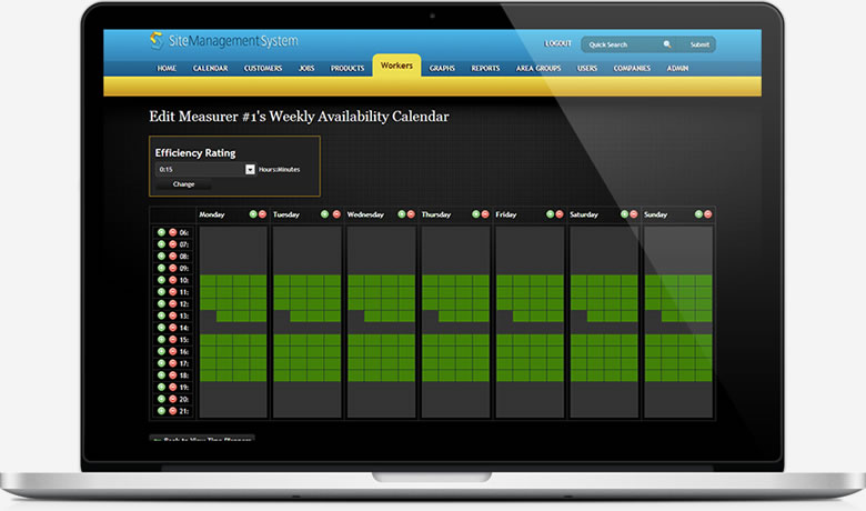 Site Management System Banner Worker Availability Screenshot